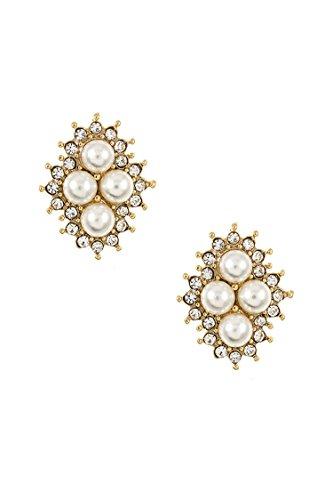 Hip Hop Faux Diamond Stud Earrings (GlitZ Finery Diamond Shape Faux Pearl Accent Post Earring (Gold))