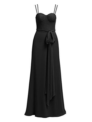 Alicepub Soir Maxi Formelle Des Femmes Robe Robe De Bal En Mousseline De Soie Double Bretelles Parti Noir