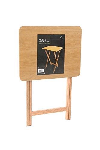 -[ Premier Housewares Folding Snack Table - Natural Wood  ]-