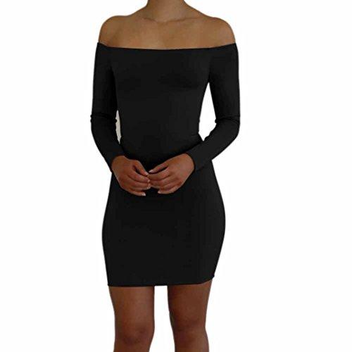 kaifongfu Women Dress,Party Evening Short Mini Dress Long Sleeve Bodycon Casual Dress For Women (S, Black)