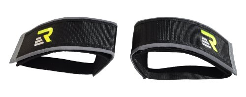 Retrospec Fixed-Gear Track BMX-Style Foot Retention FGFS Velcro Straps with Reflective Fabric, Black Fixie Straps
