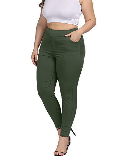 Allegrace Plus Size Women Skinny Pants Stretch Long,Tummy Control Slim Skinny Leggings with Pockets Army Green 3X