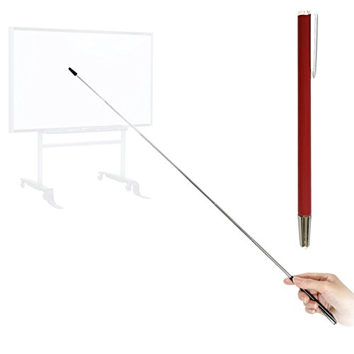 Pointer - Teachers Pointer - Teaching Pointer - Hand Pointer Extended Length, Presenter Whiteboard Pointer, Black Matte with Chrome Trim (Red) by Day Tip