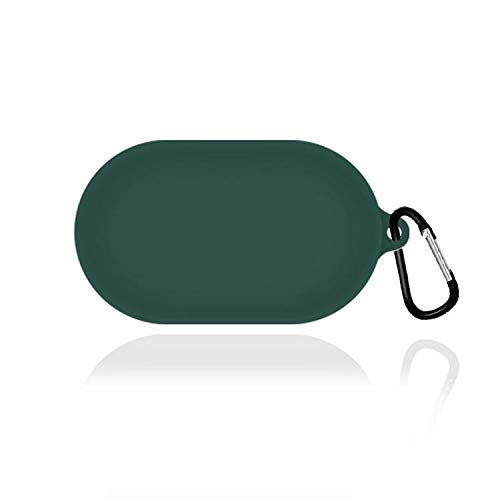 CROGIE™ Silicone Protective Case Cover for OnePlus Earbuds Z TWS, Anti Fall Anti Dust, with Hook Earphone Case *Case Cover only* (Dark Green)