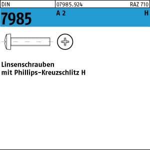 H M3x20 200 Edelstahl V2A Kreuzschlitz Linsenschrauben DIN 7985 A2