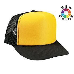 OTTO Polyester Foam Front 5 Panel High Crown Mesh Back Trucker Hat - Blk Gld feb44dd2c9b