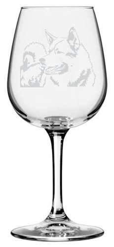 Norwegian Elkhound Dog Themed Etched All Purpose 12.75oz Libbey Wine Glass