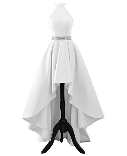 Changuan Halter High Low Evening Party Dress Satin Homecoming Prom Dresses Sleeveless White-4