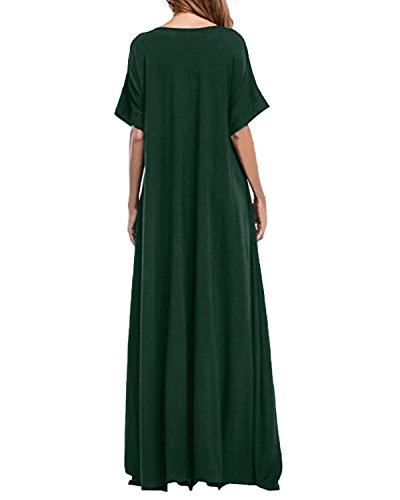 Pocket Long Maxi Women Round Dress Sleeve Dress Solid Plain Kidsform Green Loose Neck with Short BOFfqqH