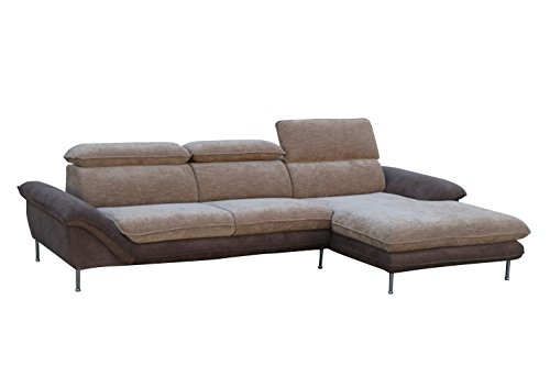 Container Furniture Direct S0108R-2PC Alyssa Flocking Linen Upholstered Left-Sided Sectional Sofa with Chaise,115