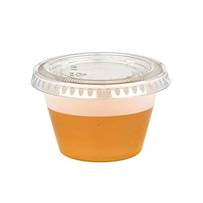 4 OZ Plastic Portion Cup with Clear Lids Disposable Jello Shots Sauce Condiment Souffle Dressing Mini Containers [250 Pack]