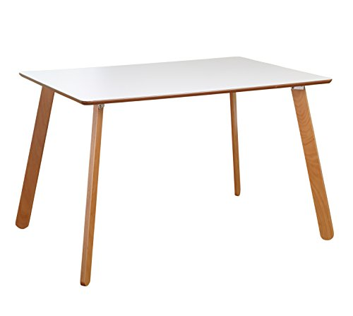 Target Marketing Systems Beatrice Collection Ultra Modern Kitchen/Dining Room Table With Splayed Legs, White/Natural
