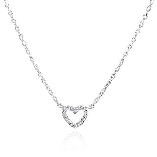 (PAVOI 14K Gold Plated Cubic Zirconia Heart Necklace | Layered Necklaces | White Gold Necklaces for Women)