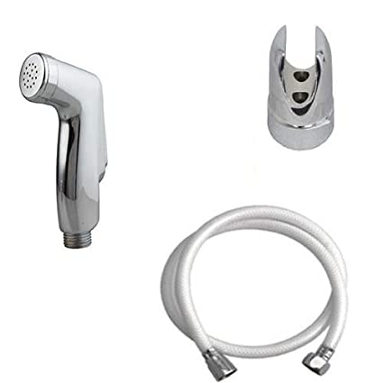 SHRUTI PVC Health Faucet Cohler Type with 1. Mtr PVC White Shower Tube & Chrome Plated Stand (1178-1161 White)
