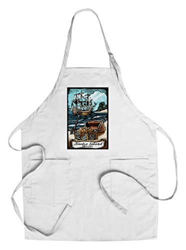 Designs Amelia Apron - Amelia Island, Florida - Pirate - Scratchboard (Cotton/Polyester Chef's Apron)