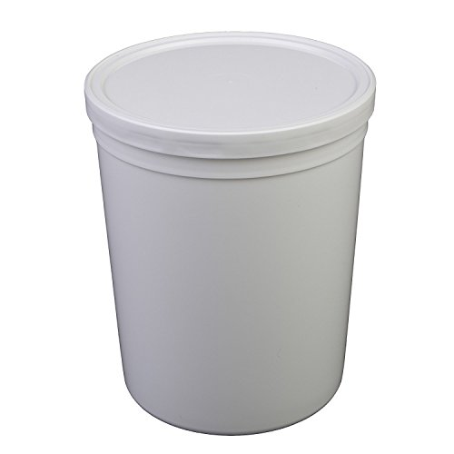 Consolidated Plastics 43900 Round Tub with Cover, HDPE, 80 oz, 10 Piece, White