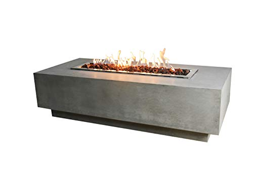 Elementi Granville Outdoor Table 60 Inches Fire Pit Patio Heater Concrete Firepits Outside Electronic Ignition Backyard Fireplace Cover Lava Rock Included, Natural Gas (Outdoor Table With Fire Pit In The Middle)