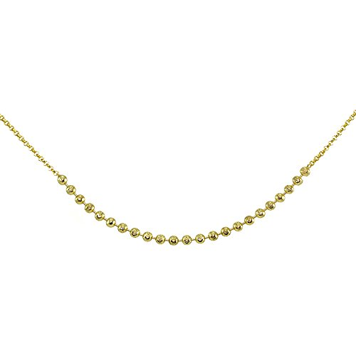 GemStar USA Yellow Gold Flashed Sterling Silver Faceted Beads Italian Chain Choker (Faceted Bead Chain)