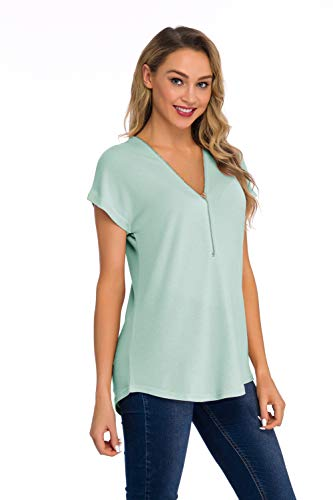 (Fronage Women's Summer Loose Fitting Tops Zip Up Deep V Neck Short Sleeve Tunics Casual T Shirts Blouse (XL, Green))