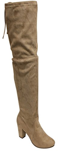 Breckelles Gina-38 Womens round toe chunky heel knee high fasten opening side zip suede boots Natural IwVQmEk