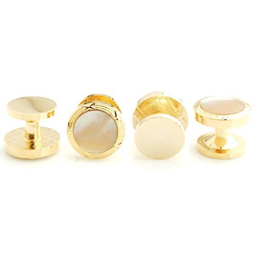 The Smart Man Elegant White Stone Round Cufflinks and Tuxedo Studs Set for Mens Gift by The Smart Man (Image #2)