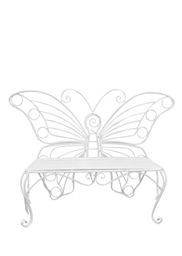 Hi-Line Gift Ltd Garden Décor Butterfly Bench, 60 by 18 by 42-Inch, White