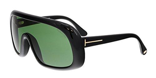 Tom Ford Sven Sunglasses FT0471 01N, Black Frame, Green Lens, One - Tom Shield