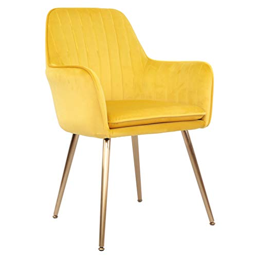 Accent Living Room Leisure Armchair Velvet Fabric Dining Chair with Golden Metal Legs (Yellow) (Accent Yellow Chairs)