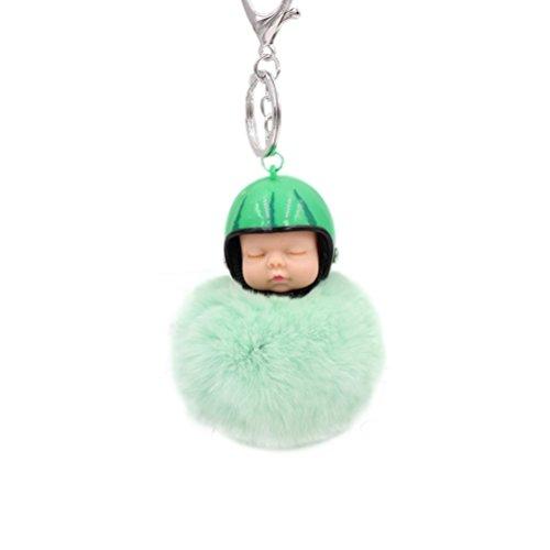 FTSOP Lovely Sleeping Doll Trinkets Key Chains Artificial Fur Ball Key Rings Bag Ball Pendant Car Key Ring Mint
