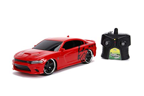 Jada Toys Big Time Muscle Hyperchargers RC - 2015 Dodge Charger SRT Hellcat, USB Charging, 2.4Ghz, Glossy Red