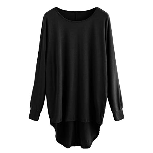 XOWRTE Women's Tops Solid Round Neck Loose Blouse Casual Fashion Long Sleeve T-Shirt Tunic]()