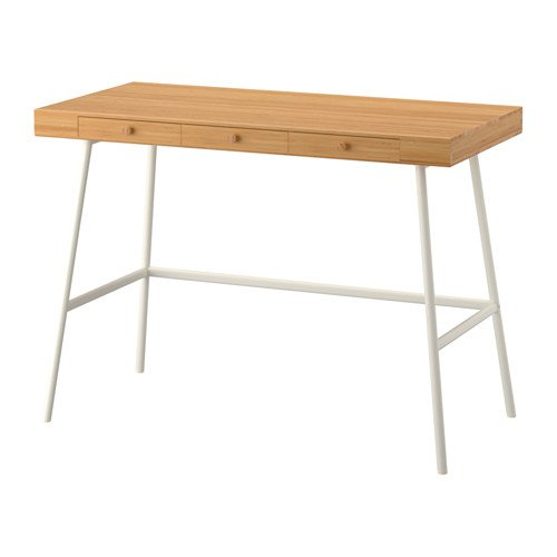 BAMBOO DESK MODERN DURABLE RENEWABLE 3 DRAWERS WHITE LEGS BACK IS FINISHED by IKEA