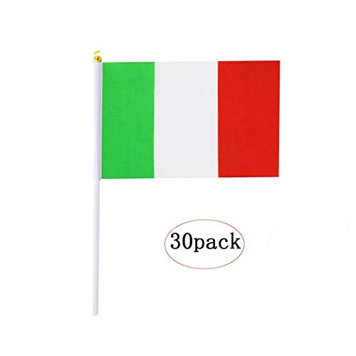 Italy Stick Flag,Italian Hand Held Mini Small Flags On Stick International Country World Stick Flags For Party Classroom Garden Olympics Festival Sports Clubs Parades Parties Desk Decorations(30 pack) -