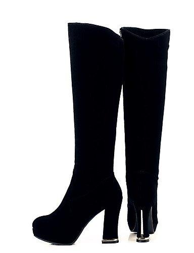 Trabajo Tacón Black Uk6 Eu39 Botas Casual Y Sintético Cerrada De Oficina Cn39 us8 Negro Punta Vestido Ante Mujer Xzz Redonda Zapatos Robusto tTP44q