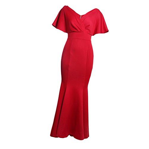 Rojo Vestido Sensación Muchachas Suave Graduación Sin Homyl Espalda Cómoda Elegante Fiesta Mujeres Regalo Szw7qw