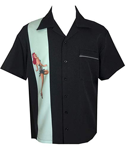 BeRetro Pinup Girl Men's Bowling Lounge Retro Shirt Mint Pinup -