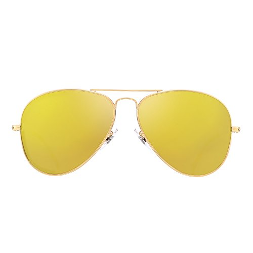 Retro Polarized Aviator Sunglasses Flash Tinted Lens Eyeglasses for Women Men UV400 (Gold Alloy / Polarized - Mirrored Aviators Yellow