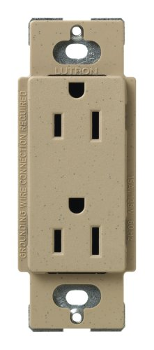 Lutron SCR-15-MS Satin Colors 15A Electrical Socket Duplex Receptacle, Mocha Stone