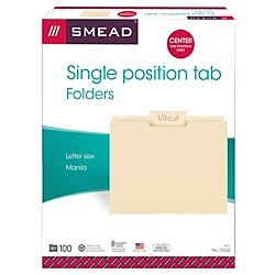 Position Top Tab Letter (Smead File Folder, 1/3-Cut Tab Center Position, Letter Size, Manila, 100 Per Box (10332))
