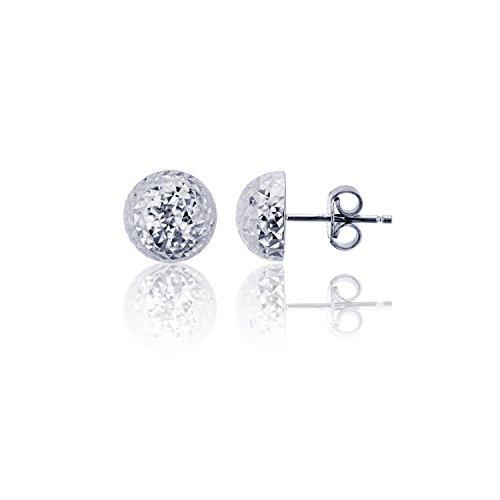 - 14K White Gold Diamond Cut 12.00mm Half Ball Stud Earring