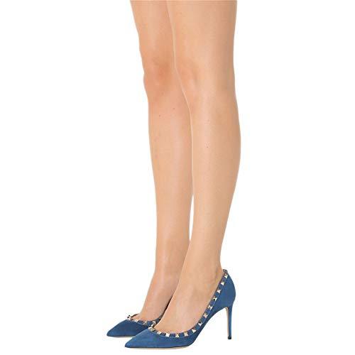 Bombas Gamuza Slip Punta de es Tachonado Mujer Azul Caitlin Pumps Alto Elegante puntiagudaTacón de Vestir Oro RivetEstilete Pan on Semental 10CM Y 70AxnHxF