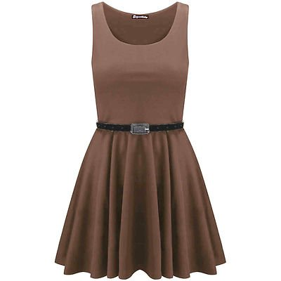 Oops Outlet Damen Skater-Kleid Ärmellos Mehrfarbig
