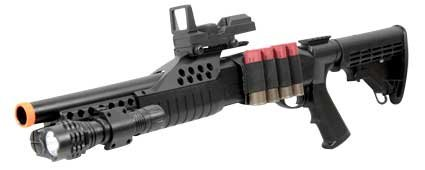 BBTac Airsoft Shotgun Pump w/ Shells - Flashlight - Red Dot by BBTac