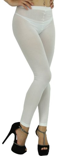 ToBeInStyle Women's Leggings Ankle Long Elastic Tights - One Size - White ()