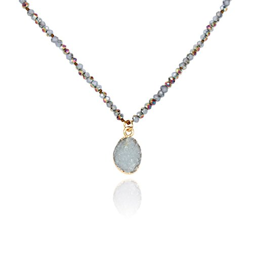 POMINA Knotted Rondelle Glass Beaded Choker, Druzy Pendant Short Necklaces (Grey) by POMINA