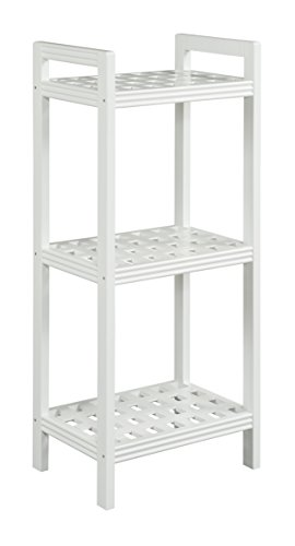 New Ridge Home Goods Beaumont Solid Birch Wood Shelf Tower, White (Tower Beaumont)