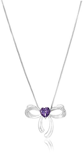 Diamond Bow Pendant Necklace (Sterling Silver Amethyst and Diamond Bow Pendant Necklace, 18
