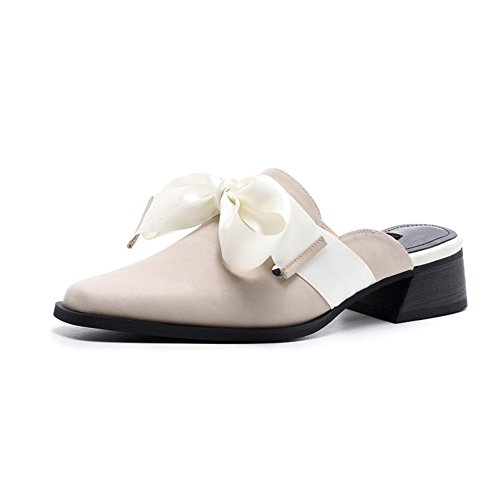 White Baotou Two Wear Wear Size White Thick Slippers US Casual with Female Color Ribbon Leather 5 FZ50w0