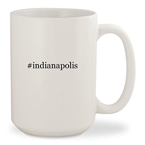 #indianapolis - White Hashtag 15oz Ceramic Coffee Mug - Indianapolis Indian Clothing