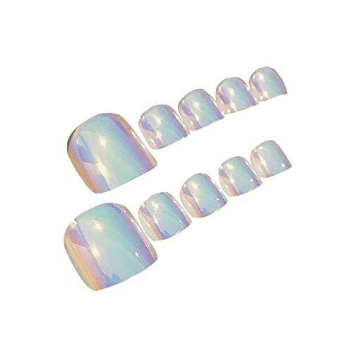 24pcs Short Fake Toenails Mirror False Toe Nails for Women Full Cover Acrylic Feet Nail Glue on Toenails Art (On Press Toenails)